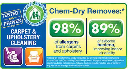 Power Chem-Dry removes up to 98% of allergens and bacteria from carpets. This means we create a healthier home for your whole family!